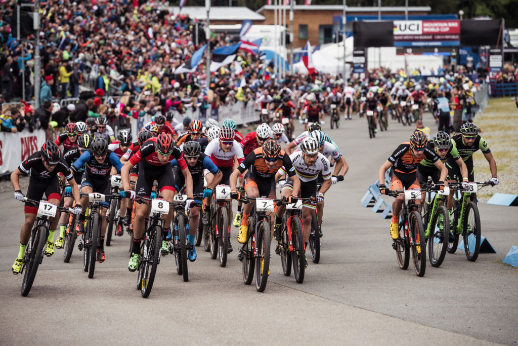 Competitors race at UCI XCO World Cup in Nove Mesto, Czech Republic on May 21st, 2017