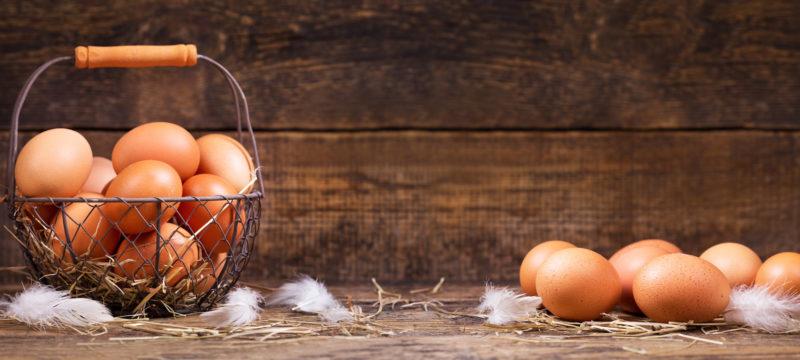 fresh eggs in a basket